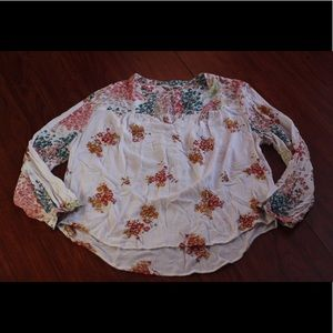 Lucky Brand M Sheer Floral Blouse